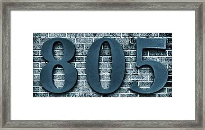 805 Blue Gray Numbers On Bricks Soft-focus Framed Print by Tony Grider