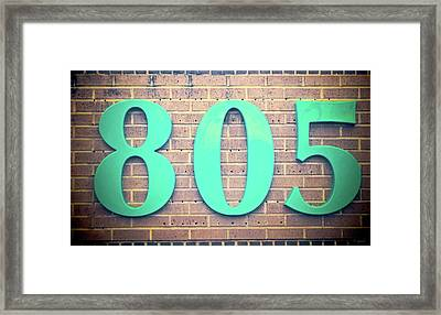 805 Jade On Brown Bricks Framed Print by Tony Grider