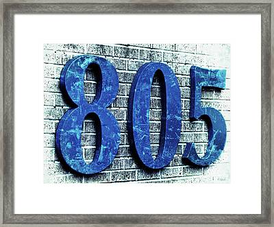 805 Shades Ot Blue Texture On Brick Framed Print by Tony Grider