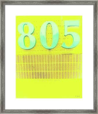 805 Turquoise On Bright Yellow And Biege Brick Framed Print by Tony Grider