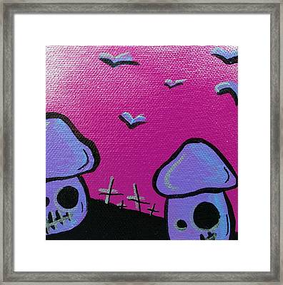 80s Zombie Mushrooms Framed Print