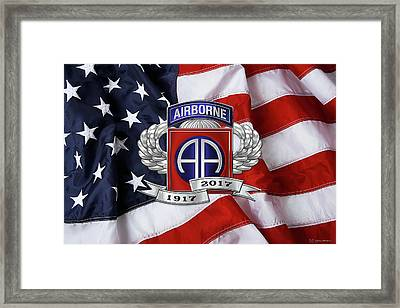 82nd Airborne Division 100th Anniversary Insignia Over American Flag  Framed Print by Serge Averbukh