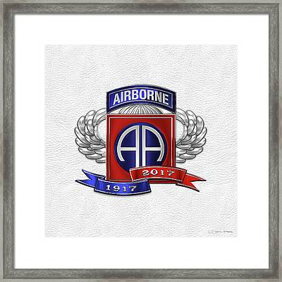 82nd Airborne Division 100th Anniversary Insignia Over White Leather Framed Print by Serge Averbukh