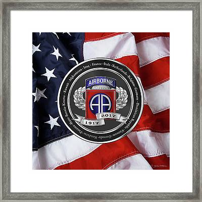 82nd Airborne Division 100th Anniversary Medallion Over American Flag Framed Print by Serge Averbukh