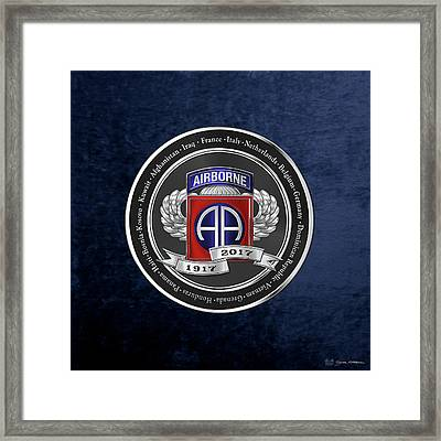 82nd Airborne Division 100th Anniversary Medallion Over Blue Velvet Framed Print by Serge Averbukh