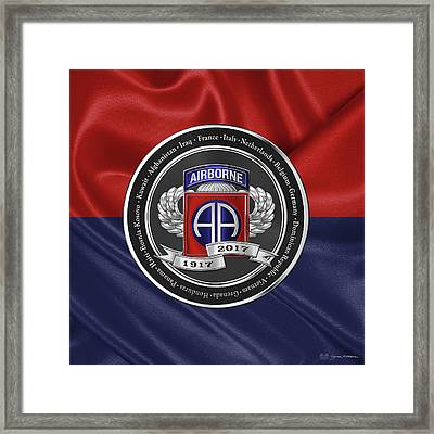 82nd Airborne Division 100th Anniversary Medallion Over Division Colors Framed Print by Serge Averbukh