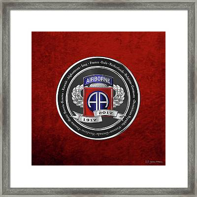 82nd Airborne Division 100th Anniversary Medallion Over Red Velvet Framed Print by Serge Averbukh