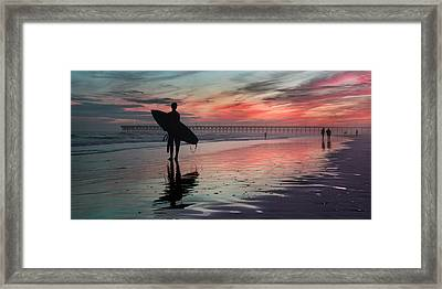 84x42 Searching For A Perfect Wave  Framed Print by Betsy Knapp