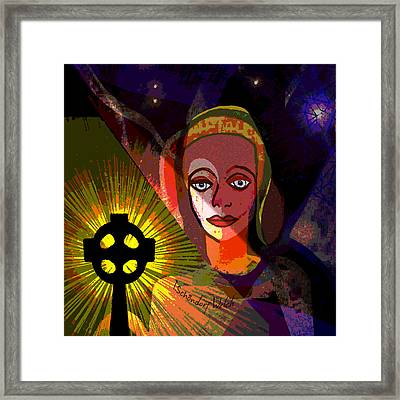 Framed Print featuring the digital art 863 - A Celtic Cross by Irmgard Schoendorf Welch