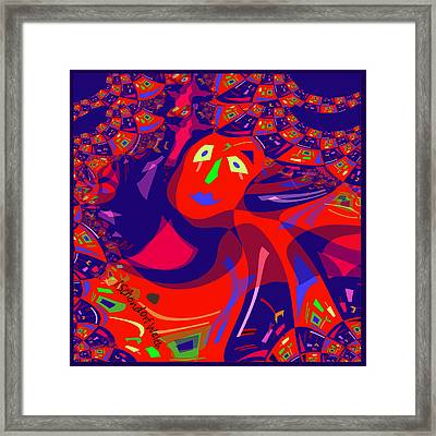 873 - Clown Lady Pop  -2017 Framed Print by Irmgard Schoendorf Welch