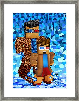 8bit Boy With Time Traveller Shadow Framed Print