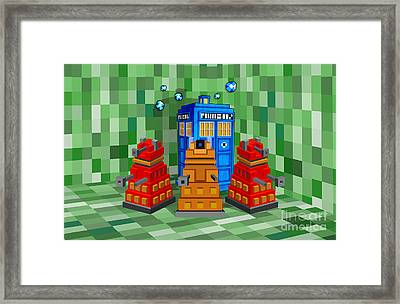 8bit Retro Cubik Robot Capture The Phone Booth Framed Print