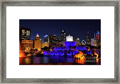 Framed Print featuring the photograph 911 Tribute At Buckingham Fountain, Chicago by Zawhaus Photography