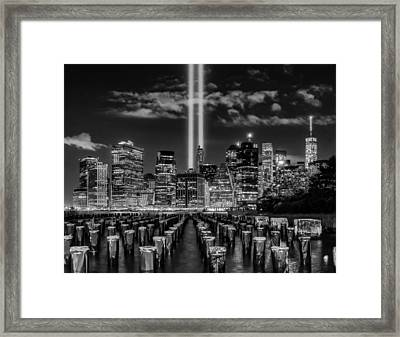 9/11 Tribute Lights - Bw Framed Print
