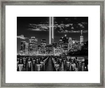 9/11 Tribute Lights - Bw Framed Print by Nick Zelinsky