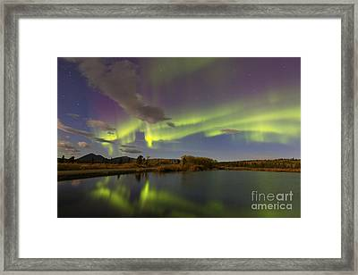 Aurora Borealis With Moonlight At Fish Framed Print by Joseph Bradley
