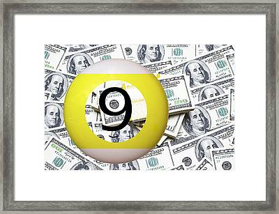 9 Ball - It's All About The Money Framed Print by Daniel Hagerman