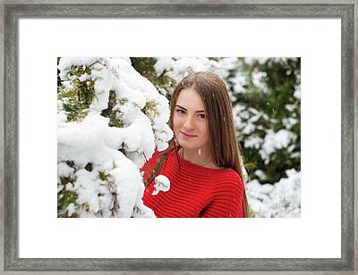 Beautiful Young Girl Model In Winter In A Parked Park. In A Red Sweater. Framed Print by Oleksandr Masnyi