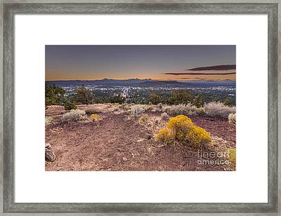 Bend From Pilot Butte In Evening Framed Print by Twenty Two North Photography