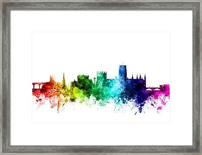 Durham England Skyline Cityscape Framed Print by Michael Tompsett