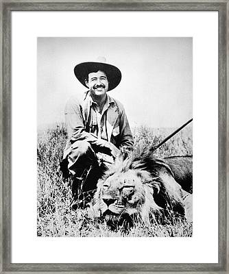 Framed Print featuring the photograph Ernest Hemingway by Granger