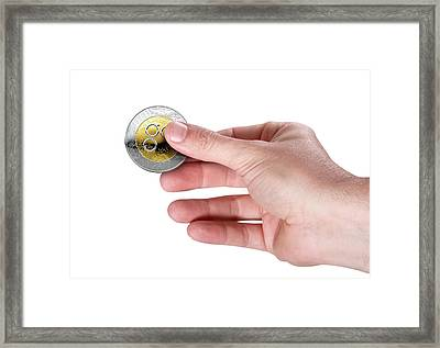 Hand And Bitcoin Framed Print