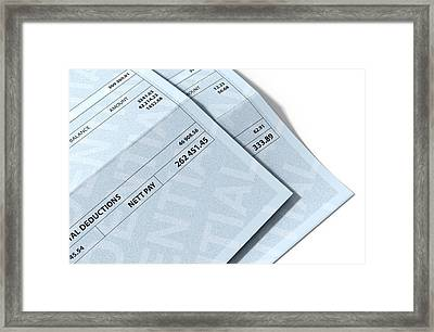 Income Inequality Paychecks Framed Print