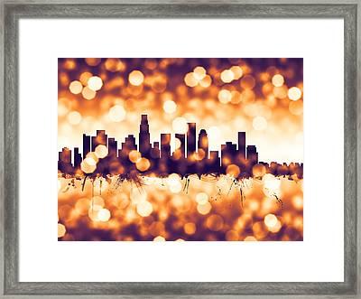 Los Angeles California Skyline Framed Print by Michael Tompsett