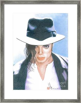 Framed Print featuring the drawing Michael Jackson #three by Eliza Lo