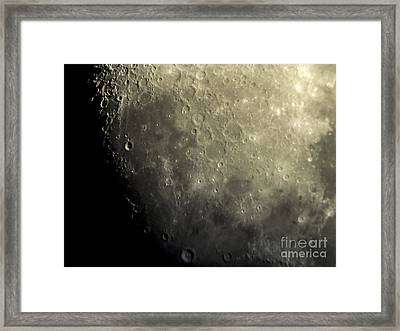 Moon - Close Up Of Craters Lunar Surface Framed Print by David Oppenheimer