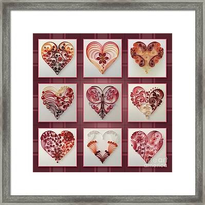 9 Of Hearts Collage Framed Print by Felecia Dennis