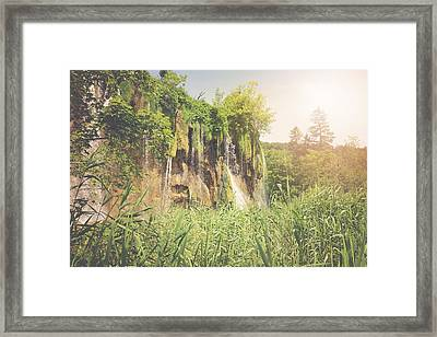 Retro Hiking Path With Sunlight With Instagram Style Vintage Fil Framed Print by Brandon Bourdages
