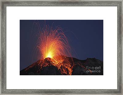 Stromboli Eruption, Aeolian Islands Framed Print by Martin Rietze