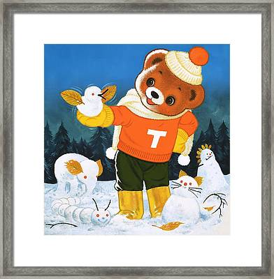 Teddy Bear Christmas Card Framed Print by William Francis Phillipps