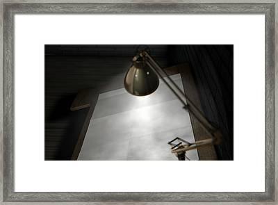 Vintage Desk And Lamp  Framed Print by Allan Swart