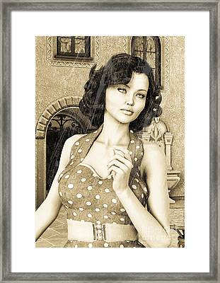 Vintage Woman Framed Print by Design Windmill