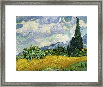 Framed Print featuring the painting Wheat Field With Cypresses by Vincent van Gogh