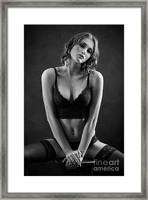Woman In Lingerie Framed Print by Aleksey Tugolukov