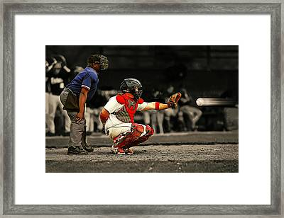 90 Mph Baseball Heading Towards Catcher And Ump Framed Print