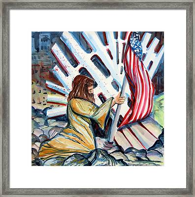 911 Cries For Jesus Framed Print by Mindy Newman