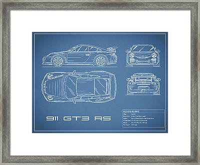 911 Gt3 Rs Blueprint Framed Print