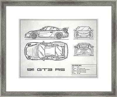 911 Gt3 Rs Blueprint - White Framed Print