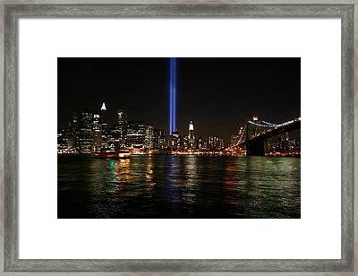 911 Memorial Lighting Framed Print by Dennis Curry