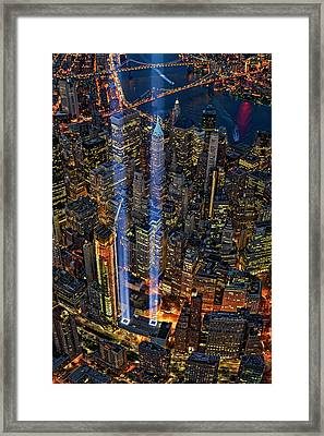 911 Nyc Tribute In Light Framed Print by Susan Candelario
