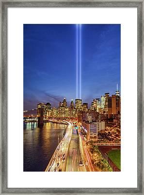 911 Tribute In Light In Nyc II Framed Print