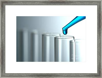 Test Tubes In Science Research Lab Framed Print
