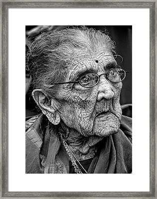 96 Year Old Indian Woman India Day Parade Nyc 2011 2 Framed Print by Robert Ullmann