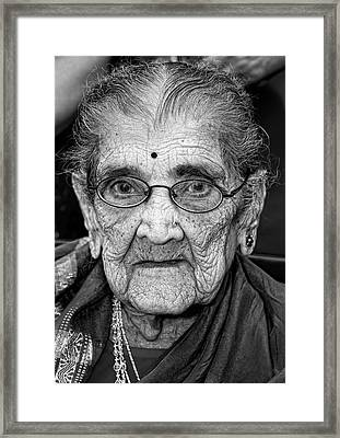 96 Year Old Indian Woman India Day Parade Nyc 2011 Framed Print by Robert Ullmann