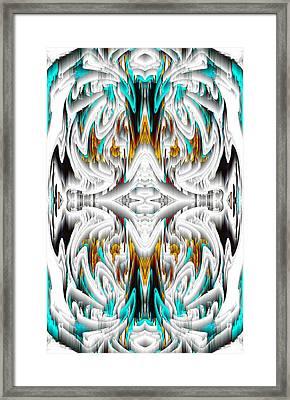 Framed Print featuring the digital art 992.042212mirror2ornategoldablue-1 by Kris Haas