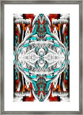 Framed Print featuring the digital art 992.042212mirror2ornateredablue-1 by Kris Haas